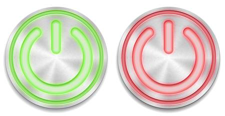 illustration of red and green glowing power button Vector