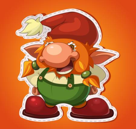 affable: illustration of old cheerful gnome on gradient background