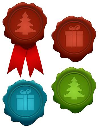 Vector illustration of colorful christmas wax seals Vector