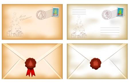 old envelope: illustration of vintage christmas envelopes with wax seal