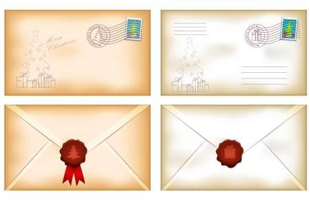 old envelope: illustration of vintage christmas envelopes with wax seal