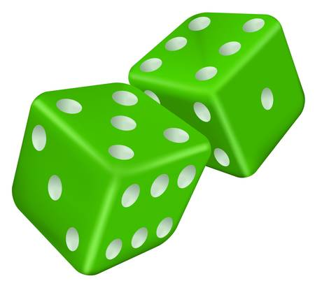 tossing: illustration of two green dice