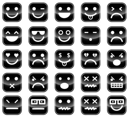 icons of black smiley faces Stock Vector - 17205852