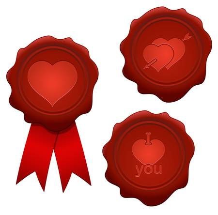 Set of Valentine's day wax seals Stock Vector - 17272434