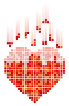 tetris: Vector illustration of mosaic heart for Valentines Day