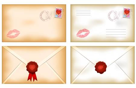 lipstick kiss: Vector illustration of kissed Valentines day envelopes with wax seal stamp Illustration