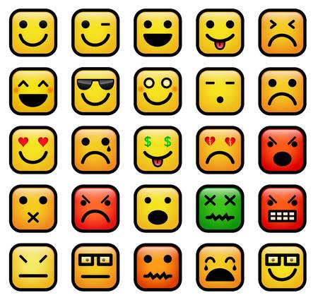 emotions faces: color icons of smiley faces