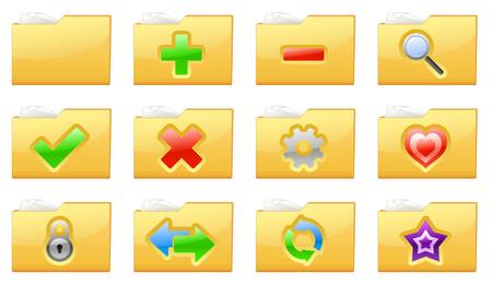 illustration of yellow interface folder management and administration icons Stock Vector - 18976988