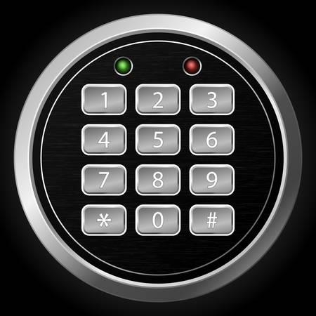 secret number: illustration of combination lock on dark background