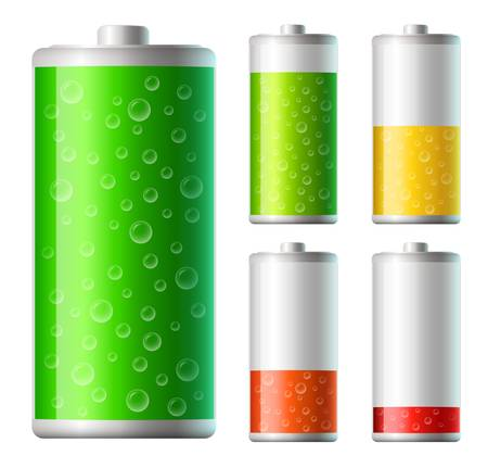 set of vector battery icons with level of charging Stock Vector - 20324598