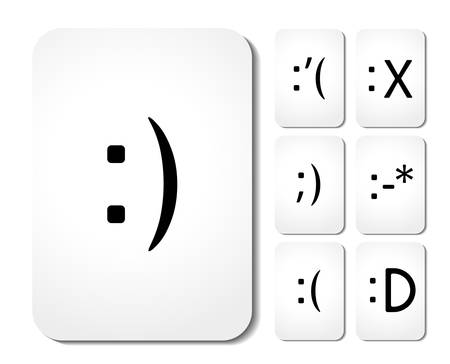 cry icon: Vector icons of smiley faces on cards Illustration