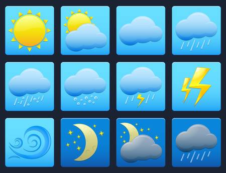 day forecast: Set of vector colorful weather icons on blue buttons Illustration