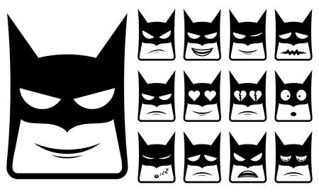 Vector icons of super hero smiley faces