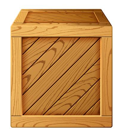 Vector illustration of wooden box icon Çizim