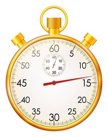 hour glass: Vector illustration of isolated retro golden stopwatch