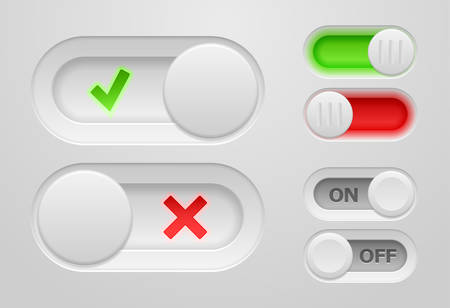 shutdown: Set of vector onoff switch sliders