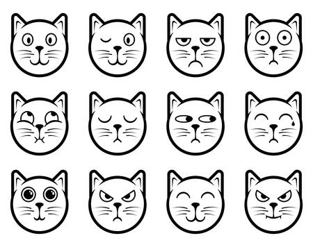 animal sad face: Vector icons of cat smiley faces
