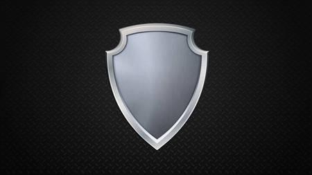 iron defense: Vector illustration of steel shield on iron backgtound