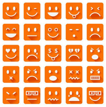 lengua larga: Vector iconos de caras sonrientes con largas sombras