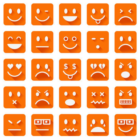 long tongue: Vector icons of smiley faces with long shadows