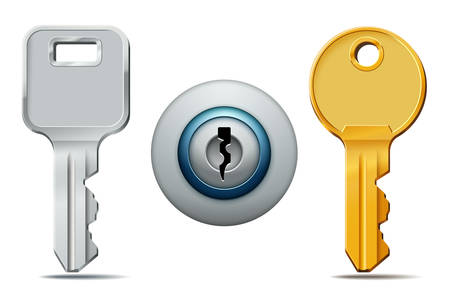 key hole: Vector illustration of two keys and keyhole icons Illustration