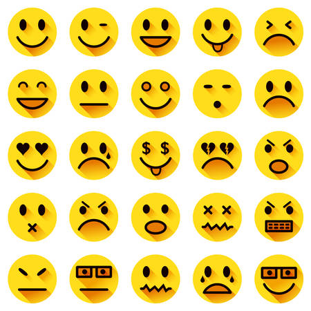 Vector icons of yellow smiley faces with long shadows Vector