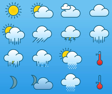 Vector illustration of simple color weather icons Vector