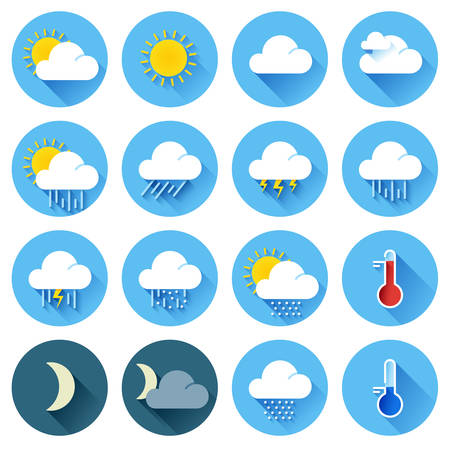 weather icons: Vector illustration of flat color weather icons with long shadow Illustration