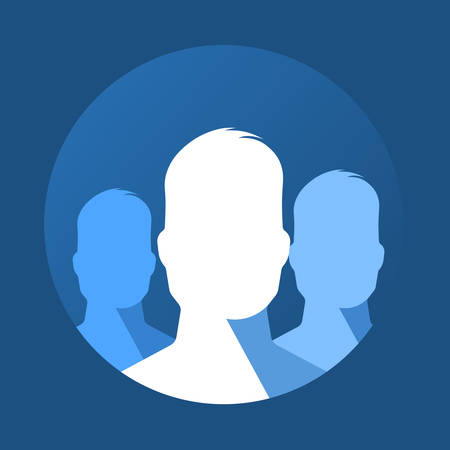 man face profile: Vector illustration of group profiles icon in round frame. Flat version