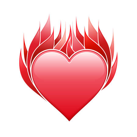 heart heat: Heart icon with fire frame