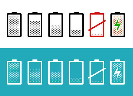 charged: Set of battery icons