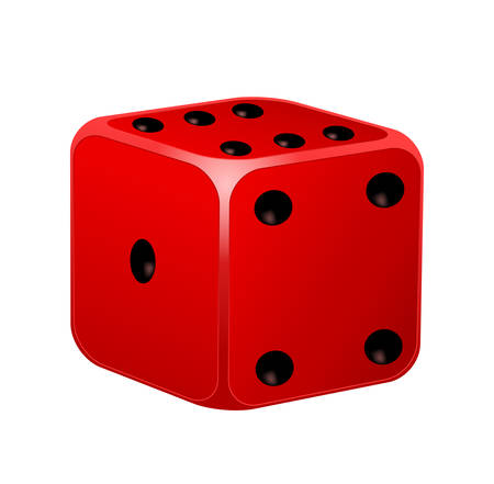 tossing: Vector illustration of red dice