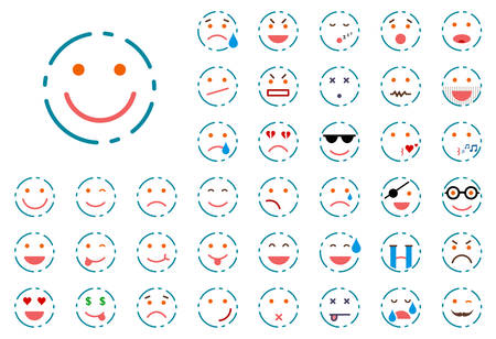 Set of different colour lined smiley