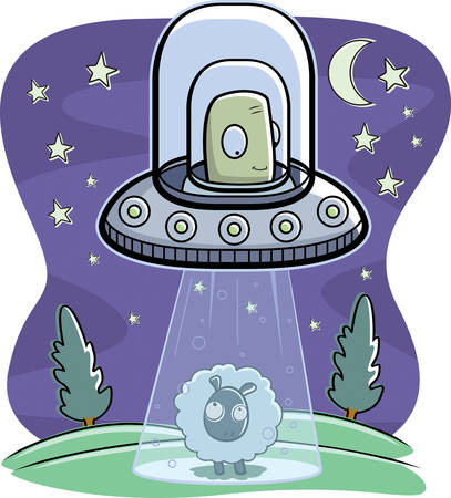 abduct: A cartoon green alien in a spaceship abducting a sheep.