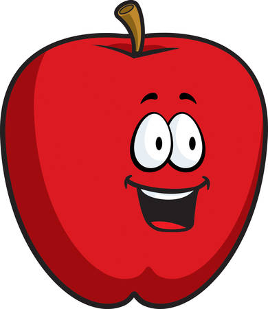 A cartoon red apple smiling and happy.