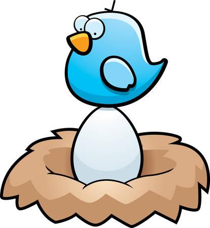 A cartoon blue bird sitting on an egg in a nest.