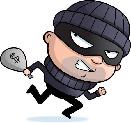 A cartoon burglar running away with a stolen money bag