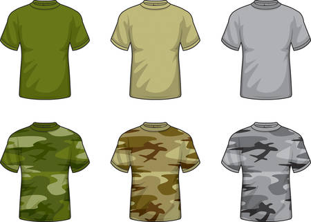A variety of different military and camouflaged shirts. Ilustração