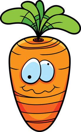 A cartoon orange carrot happy and smiling.