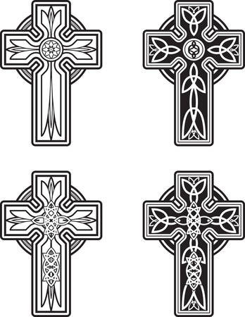 A variety of black and white celtic cross designs. Çizim