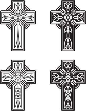 croce celtica: Una variet� di disegni celtica croce in bianco e nero.