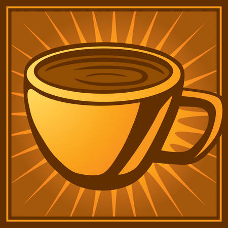 A graphic illustration of a cup of coffee. Иллюстрация