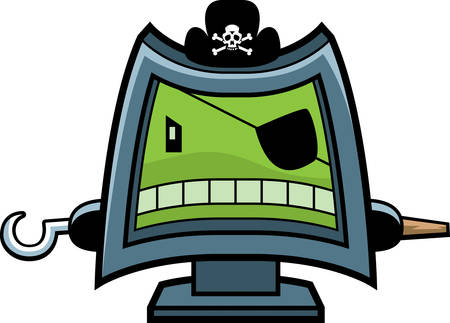A cartoon computer screen dressed as a pirate. Stock Vector - 26190975