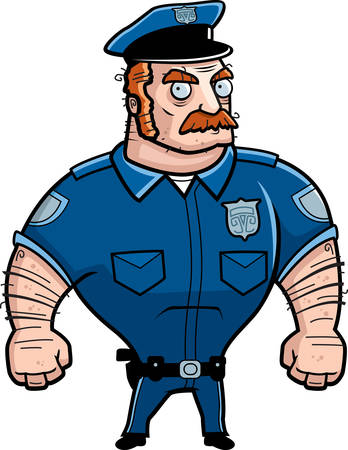A cartoon police officer with an angry expression. Illustration