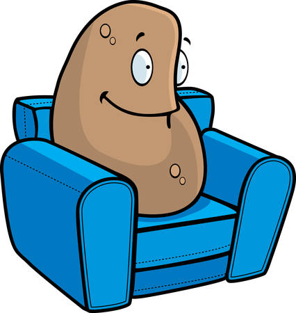 couch potato: A happy cartoon couch potato sitting and smiling. Illustration