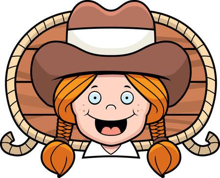 redheaded: Una vaquera pelirroja de dibujos animados sonriente y feliz.