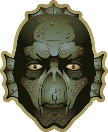 An illustration of a swamp monster head and face. Reklamní fotografie - 26190989