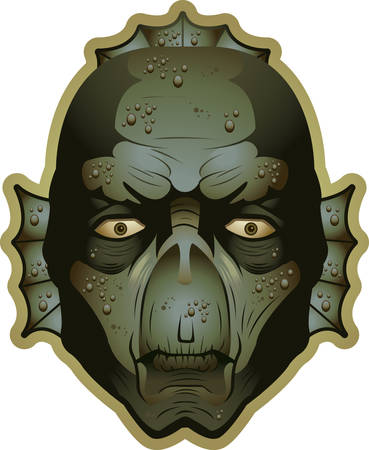 Een illustratie van een moeras monster hoofd en gezicht.