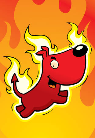 A happy cartoon devil dog jumping and smiling. Illustration