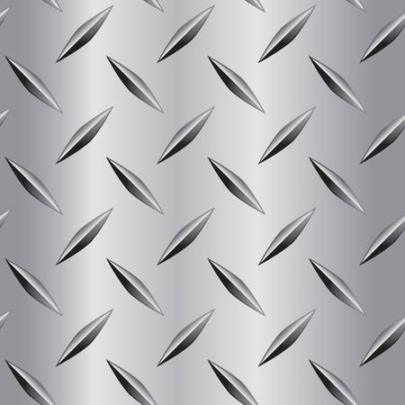 A seamless and repeating diamond plate metal pattern. Stock Illustratie